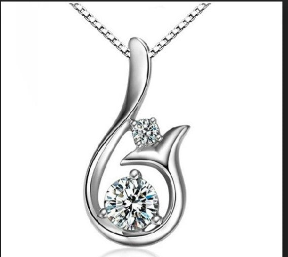 Diamond Pendant Mermaid Tail Necklace