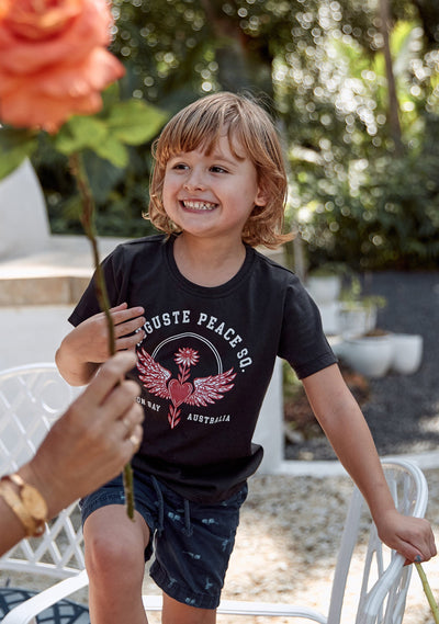 Peace Tee Washed Black - Little Auguste