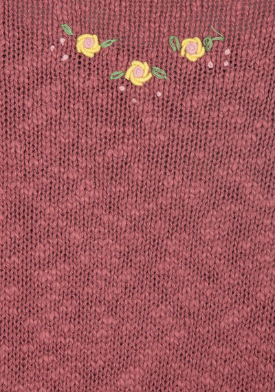 Eliza Embroidered Knit Burgundy - Auguste The Label