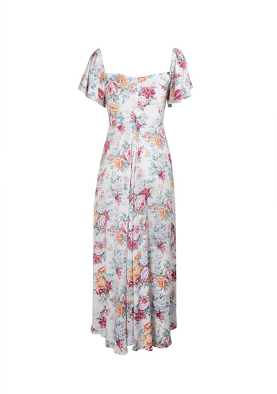 Reverie Shirred Midi Dress Natural - Auguste The Label