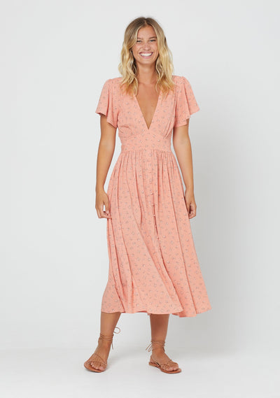 Jasmine Tie Back Midi Dress Coral - Auguste The Label