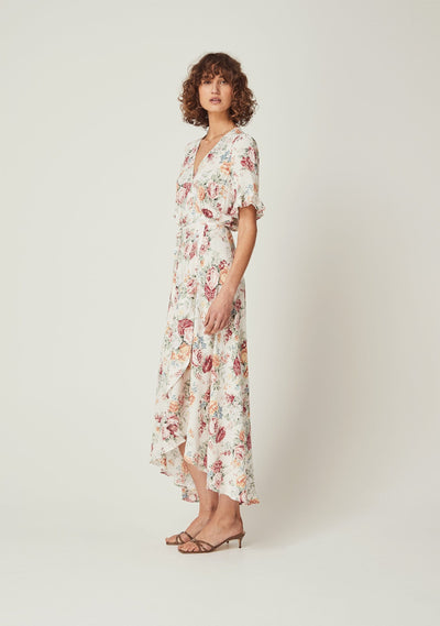Reverie Pia Wrap Maxi Dress Natural - Auguste The Label