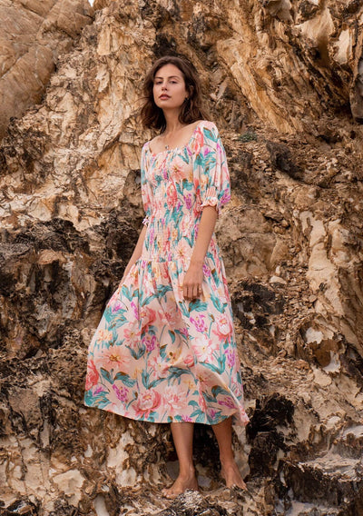 Posie Abigail Midi Dress Blush - Auguste The Label