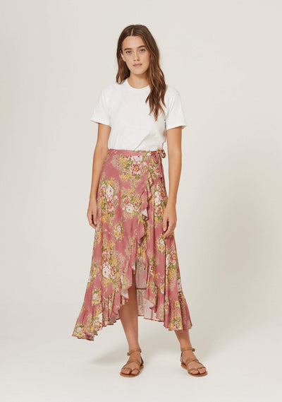 Bonnie Cascade Wrap Skirt Peach - Auguste The Label
