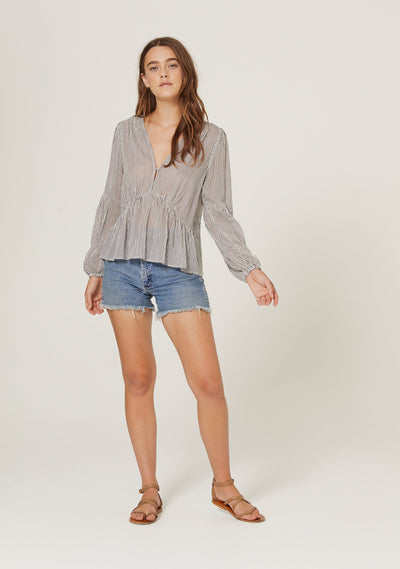 Vista Helena Blouse Charcoal - Auguste The Label