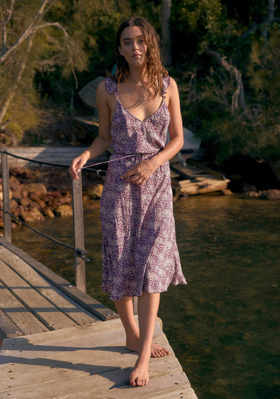 Gemima Isla Midi Dress Purple - Auguste The Label