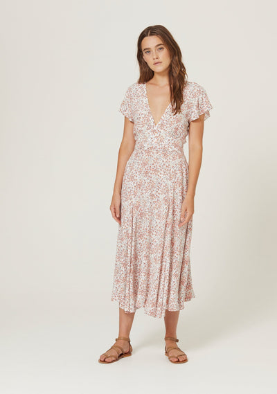 Gemima Isla Reverse Wrap Midi Dress Off White - Auguste The Label