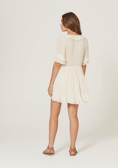 Frida Mini Dress Off White - Auguste The Label