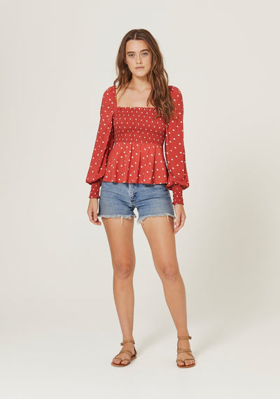 Polly Sunday Blouse Red - Auguste The Label