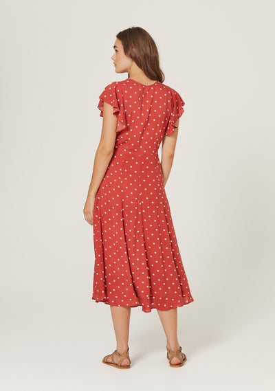 Polly Sunday Midi Dress Red - Auguste The Label