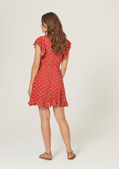 Polly Sunday Mini Dress Red - Auguste The Label