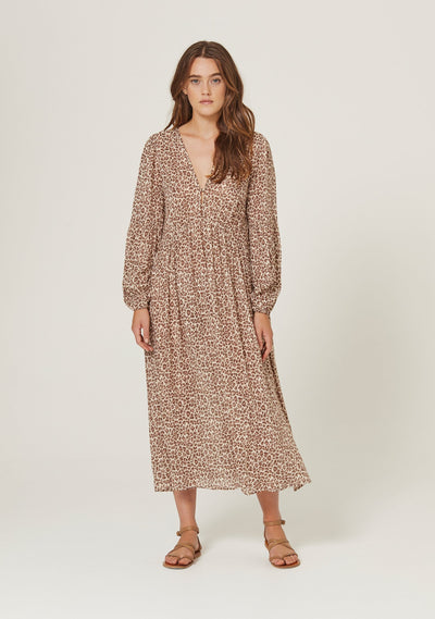 Nomad Helena Midi Dress Tan - Auguste The Label