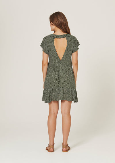 Pearl Jasper Mini Dress Khaki - Auguste The Label