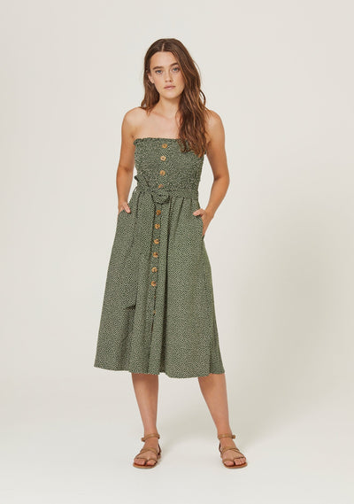 Pearl Jasper Midi Dress Khaki - Auguste The Label