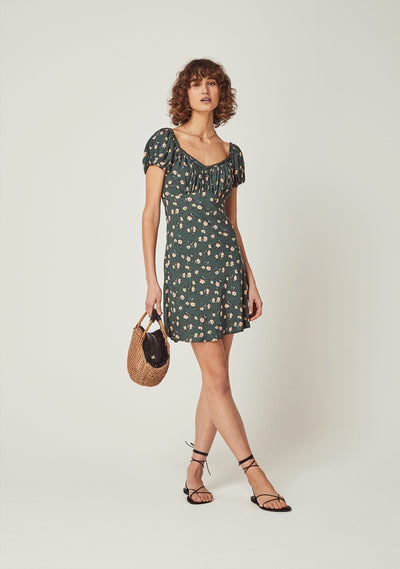 Eloise Penn Mini Dress Khaki - Auguste The Label