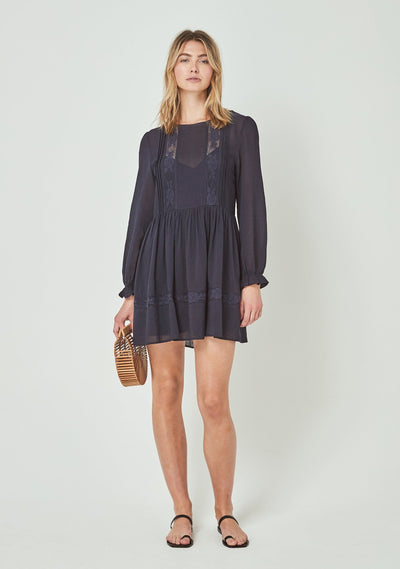 Margot Wren Long Sleeve Mini Dress Midnight Navy - Auguste The Label