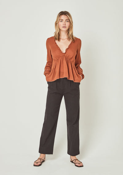 Margot Helena Blouse Desert Orange - Auguste The Label