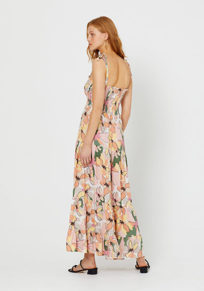 Fae Lover Shirred Maxi Dress Apricot
