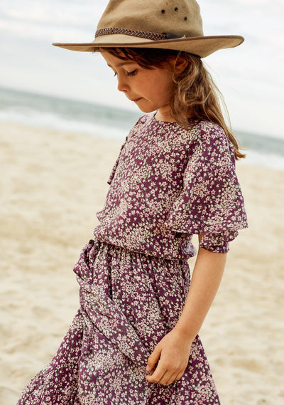 Gemima Cartwheel Blouse Purple - Little Auguste