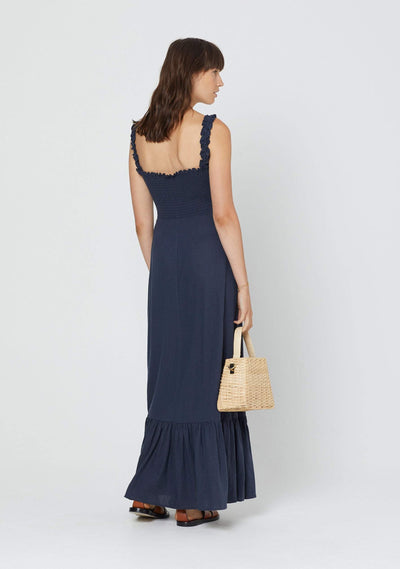 James Romeo Shirred Maxi Dress Midnight Navy - Auguste The Label