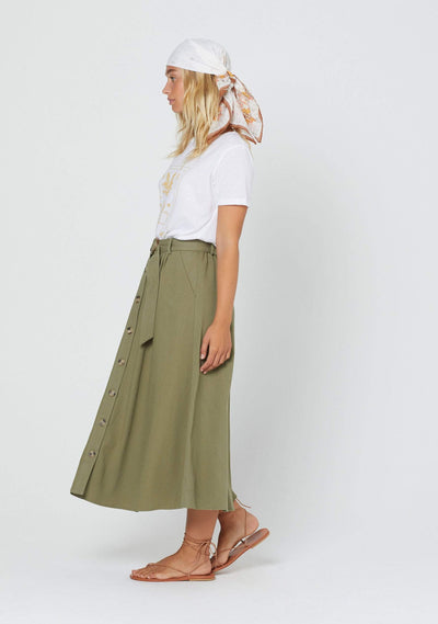 Parks Leigh Midi Skirt Khaki - Auguste The Label