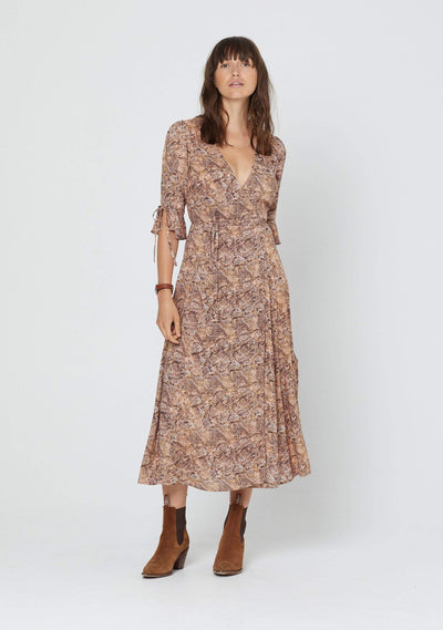 Charmed Pia Wrap Midi Dress Brown