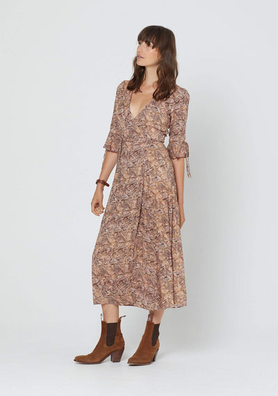 Charmed Pia Wrap Midi Dress Brown - Auguste The Label