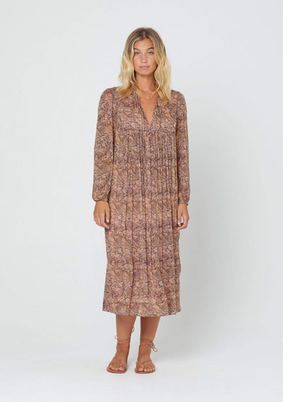 Charmed Smock Midi Dress Brown - Auguste The Label