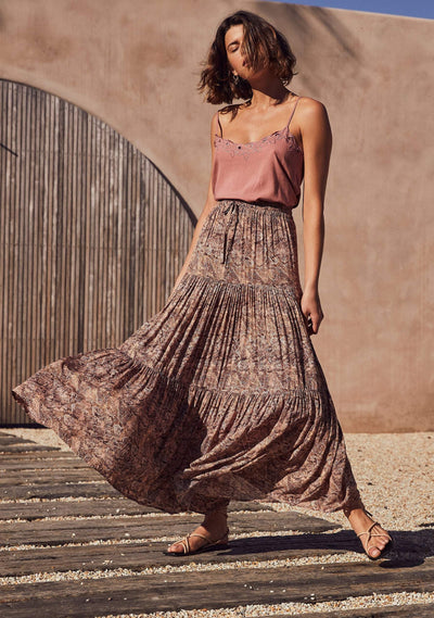 Charmed Revell Maxi Skirt Brown -  Auguste The Label