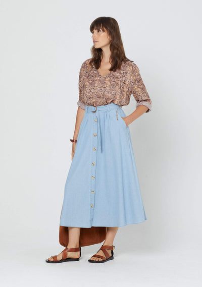 Vann Leigh Midi Skirt Chambray - Auguste The Label