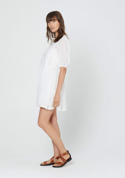 Paris Lattice Mini Dress White - Auguste The Label