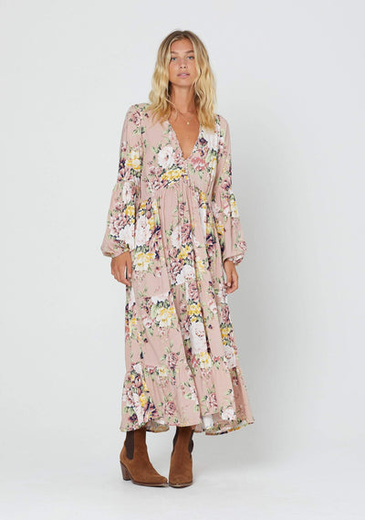 Sadie Helena Sleeved Midi Dress Blush - Auguste The Label