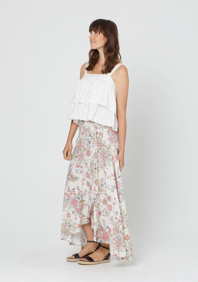 Gabrielle Shirred Waist Maxi Skirt Ivory - Auguste The Label