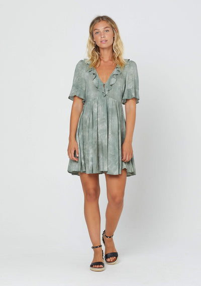 Cloudy Taylor Mini Dress Khaki - Auguste The Label