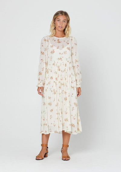 Isla Lane Midi Dress Cream - Auguste The Label