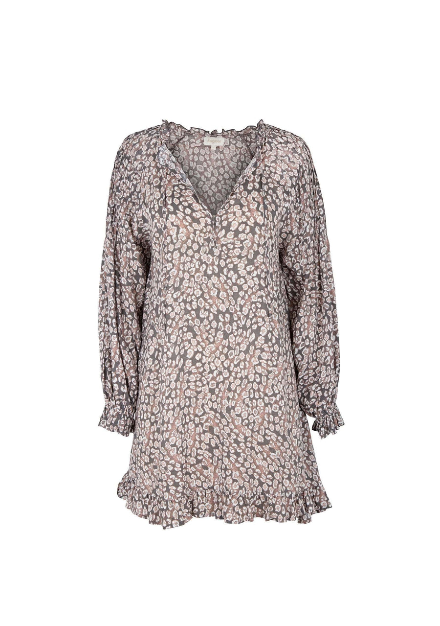 Wylde Bridgette Sleeved Mini Dress Light Grey - Auguste The Label