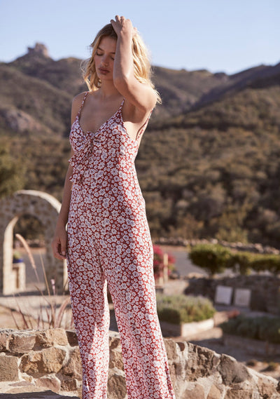 Mila Palms Jumpsuit Red - Auguste The Label