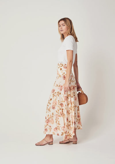 Eden Astor Midi Skirt Off White - Auguste The Label