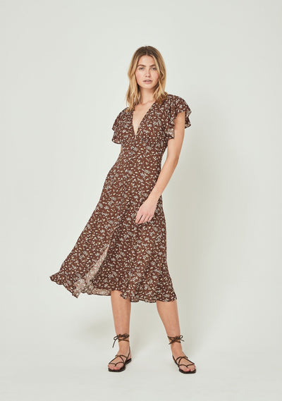 Cleo Sunday Midi Dress Brown - Auguste The Label