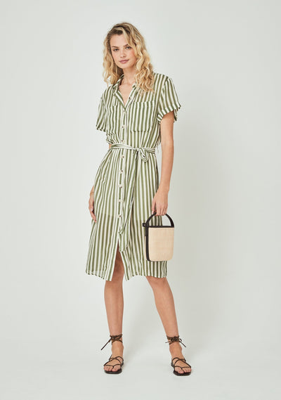 Fleet Waisted Pocket Shirt Midi Dress Khaki - Auguste The Label