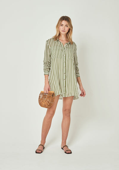 Fleet Pocket Shirt Mini Dress Khaki - Auguste The Label