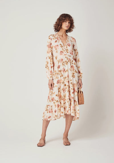 Eden Dunes Sleeved Midi Dress Off White - Auguste The Label