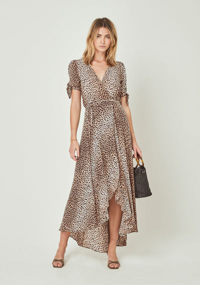 Nico Tie Sleeve Wrap Maxi Dress Natural - Auguste The Label
