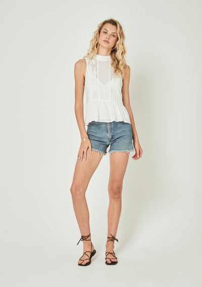 Margot Wren High Neck Cami White - Auguste The Label