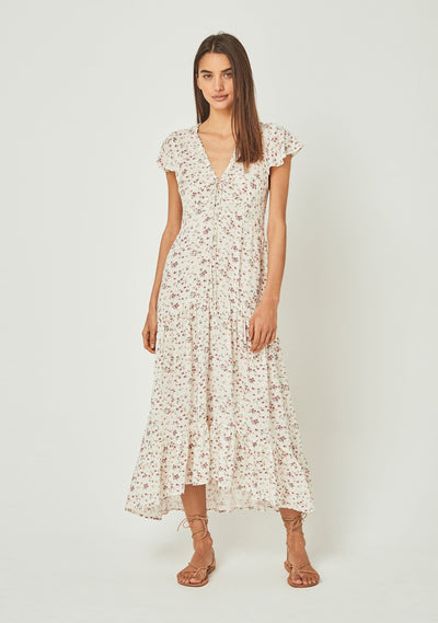 Cleo Elke Midi Dress Off White - Auguste The Label