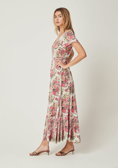 Provence Faux Wrap Maxi Dress Natural - Auguste The Label
