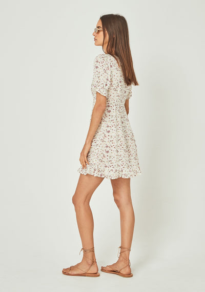 Cleo Dusk Mini Dress Off White - Auguste The Label