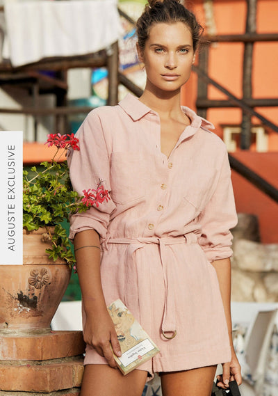 Canyon Boyfriend Romper Blush - Auguste The Label