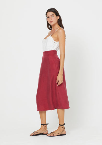 Keepsake Midi Skirt Wine - Auguste The Label