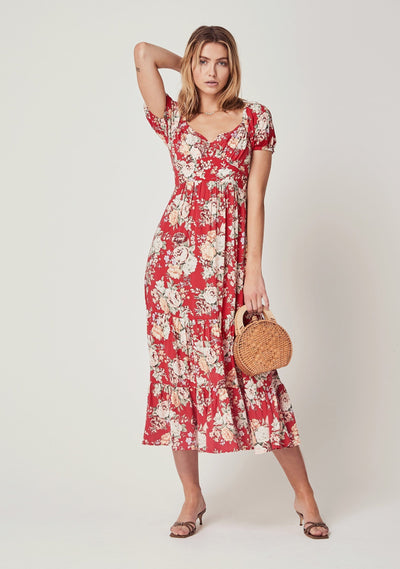 Reverie Flora Midi Dress Red - Auguste The Label
